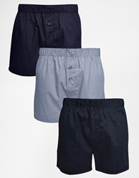 Asos 3 Pack Woven Boxers With Polka Dot Design Navy