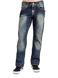 True Religion Whiskered Straight Leg Jeans Blue