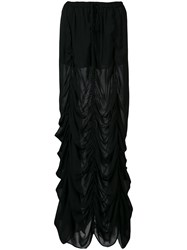 Vera Wang Long Draped Skirt Black