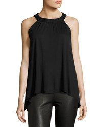 Max Studio Braid Trim Jersey Tank Black