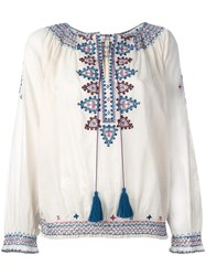 Talitha Embroidered Figures Blouse Nude Neutrals
