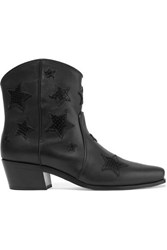Miu Miu Embroidered Smooth And Snake Effect Leather Ankle Boots Black