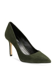 424 Fifth Bianka Suede Point Toe Pumps Army Green