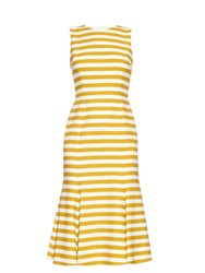 Dolce And Gabbana Striped Fishtail Cotton Dress Yellow Stripe