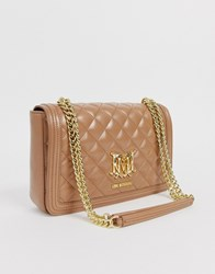 Love Moschino Quilted Shoulder Bag With Chain In Camel Beige