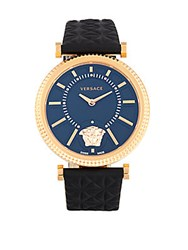 Versace V Helix Stainless Steel And Leather Strap Quartz Watch Black