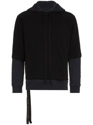 Unravel Project Layered Cotton Hoodie Blue