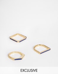 Designsix Gold Rings In 3 Pack Gold