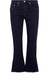 Rag And Bone Cropped Frayed High Rise Flared Jeans Dark Denim