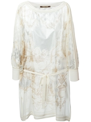 Roberto Cavalli Belted Printed Tunic Nude And Neutrals