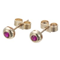 Ewa 9Ct Yellow Gold Ruby Stud Earrings Gold Red