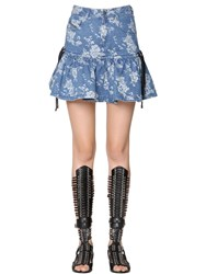 Diesel Black Gold Floral Jacquard Ruffle Hem Denim Skirt