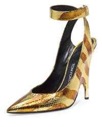 Tom Ford Watersnake Ankle Wrap Pump Gold Brown Gold Brown