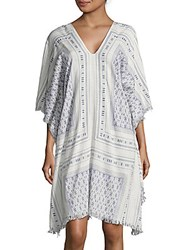 Lucky And Coco Cotton Blend Printed Caftan Sleeve Dress Blue