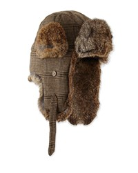 Neiman Marcus Fur Trim Plaid Trapper Hat Brown Natu