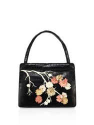 Nancy Gonzalez Cherry Blossom Crocodile Top Hande Tote Black