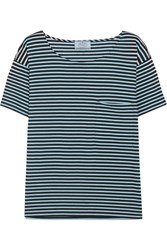 Prada Striped Cotton Jersey T Shirt Light Blue