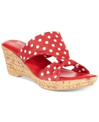 Easy Street Shoes Tuscany By Easy Street Arezzo Platform Wedge Sandals Women's Shoes Red Polka Dot