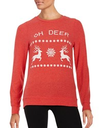 Signorelli Long Sleeve Reindeer Christmas Sweatshirt Red