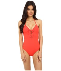 Jets By Jessika Allen Illuminate Plunge Lace Up One Piece Flame Women's Swimsuits One Piece Orange