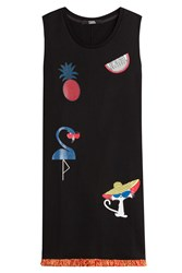 Karl Lagerfeld Choupette On The Beach Printed Cotton Dress Black