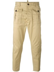 Dsquared2 Tapered Cargo Trousers Nude Neutrals