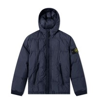 Stone Island Junior Short Crinkle Reps Down Jacket Blue