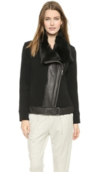 Helmut Lang Shearling Collar Jacket Black