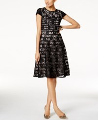 Alfani Lace Fit And Flare Dress Created For Macy's Deep Black