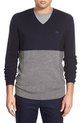 Men's Lacoste V Neck Stretch Wool Sweater Navy Blue Stone Chine