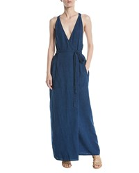 Leon Max V Neck Racerback Wrap Sleeveless Denim Maxi Dress Indigo