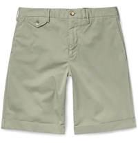 Incotex Slim Fit Stretch Cotton Twill Shorts Green