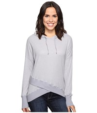 Allen Allen Long Sleeve Cross Over Hem Hoodie Pale Grey Women's Sweatshirt Gray