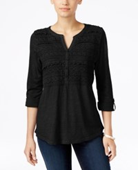 Styleandco. Style Co. Crochet Detail Top Only At Macy's Deep Black