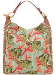 Jamin Puech Beaded Embroidered Shoulder Bag Green