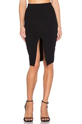 Donna Mizani Front Slit Midi Skirt Black