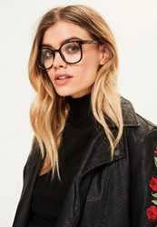 Missguided Brown Tortoise Shell Clear Lense Glasses
