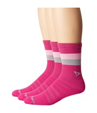 Drymax Sport Run Lite Mesh Crew 3 Pack October Pink Light Pink Gray Stripes Crew Cut Socks Shoes