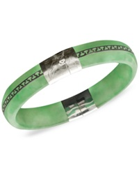 Macy's Sterling Silver Bracelet Jade Greek Key Bangle