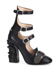 Gucci Iowa Snake Block Heel Buckle Leather Brogue Booties White Black