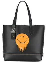 Coach Smiley Print Tote Black