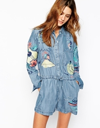 Paul And Joe Sister Denim Playsuit With Embroidered Detail Blue