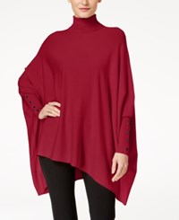 Alfani Petite Turtleneck Poncho Sweater Created For Macy's Banner Red