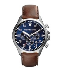 Michael Kors Gage Silvertone Chronograph Watch Brown