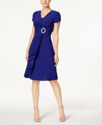 R And M Richards Short Sleeve Faux Wrap Dress Electric Blue