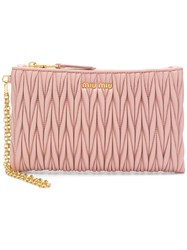 Miu Miu Quilted Top Zip Wallet Pink And Purple