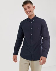 French Connection Oxford Button Down Logo Shirt Navy