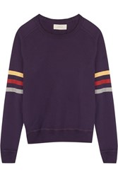 The Great Striped Cotton Sweater Dark Purple