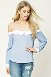 Forever 21 Collared Open Shoulder Top Blue White