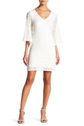 Laundry By Shelli Segal Lace Bell Sleeve Dress Petite White